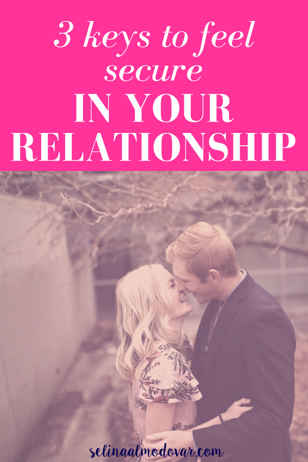 "girl and guy embrace each other while laughing and standing outside in an autumn environment with pink overlay and white text that reads, ""3 Keys to Feel Secure In Your Relationship"""