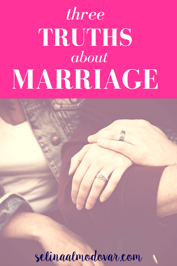 """wife and husband interlocking arms showing off wedding rings with pink overlay and white text that reads, """"Three Truths about Marriage"""""""