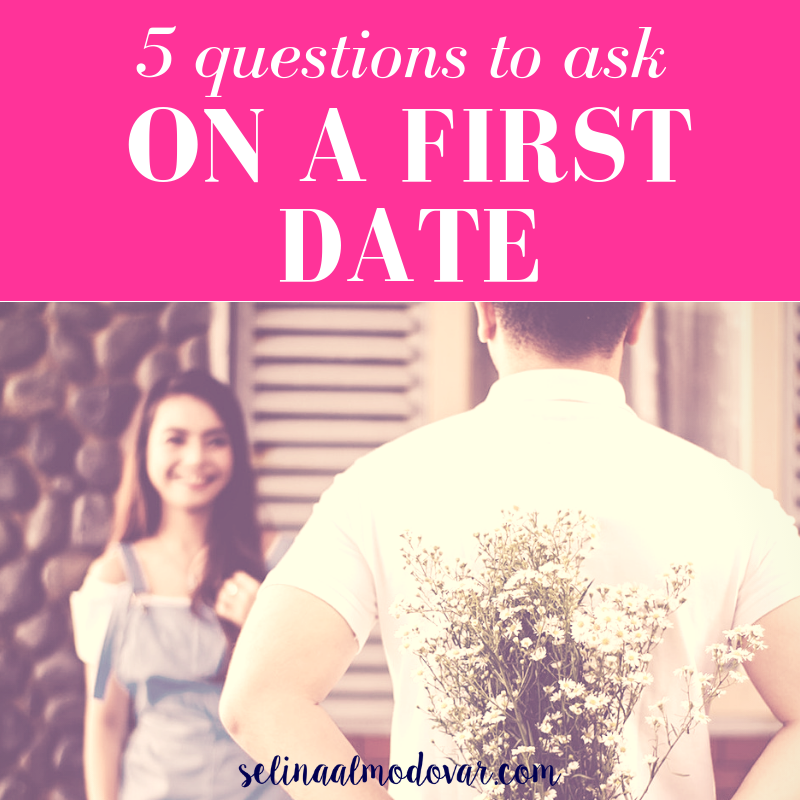 """girl smiling in the background as guy stands in front of her holding flowers behind his back with pink overlay and white text that reads, """"5 Questions to Ask On a First Date"""""""