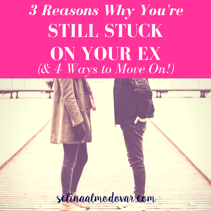 """body of girl facing body of guy as they stand on a pier with pink overlay and white text that reads, """"3 Reasons Why You're Stuck On Your Ex and 4 Ways to Move On)"""