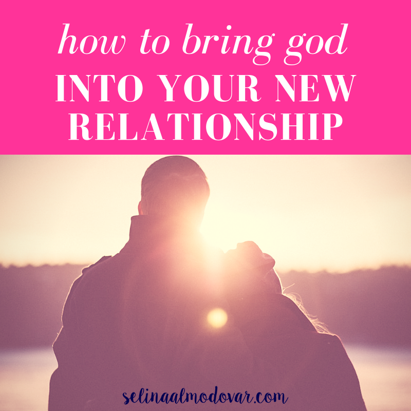 """guy and girl standing side by side looking out into lakeview with pink overlay and white text that reads, """"How to Bring God Into Your New Relationship"""""""